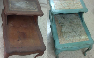 tutorial for mapped end table, chalk paint, painted furniture