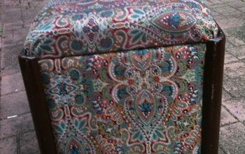 Repurposing a vintage sewing bench into a blanket storage footstool.