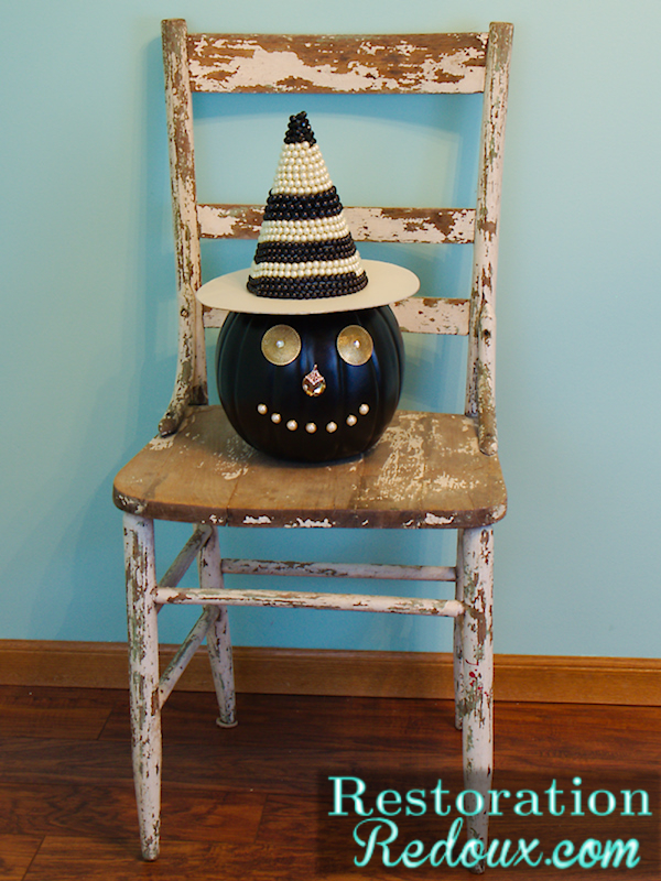 BeJeweled Jack-O-Lantern on chippy chair