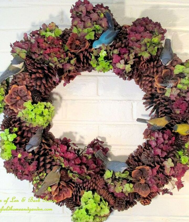 """Dried hydrangea blossoms from my garden accent our pinecone wreath for Fall, for free! Another of my """"Use What You Have"""" projects. See more at http://pinterest.com/barbrosen/our-fairfield-garden/"""