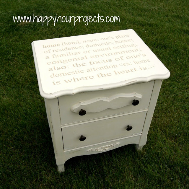stenciled end table makeover, chalk paint, painted furniture