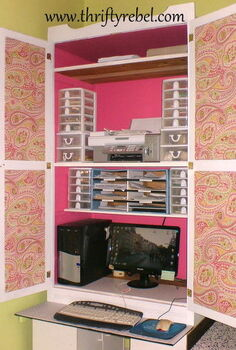 wardrobe makeover into computer armoire, chalk paint, craft rooms, home decor, painted furniture, Wardrobe Inside After