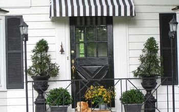 diy striped awning, curb appeal, diy, how to, DIY Black and White Striped Awning above our front door