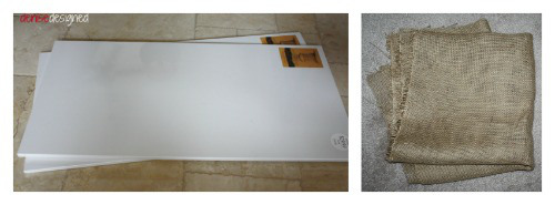 Purchase your canvas and then make sure to have enough burlap to cover the canvas and go over to the back.