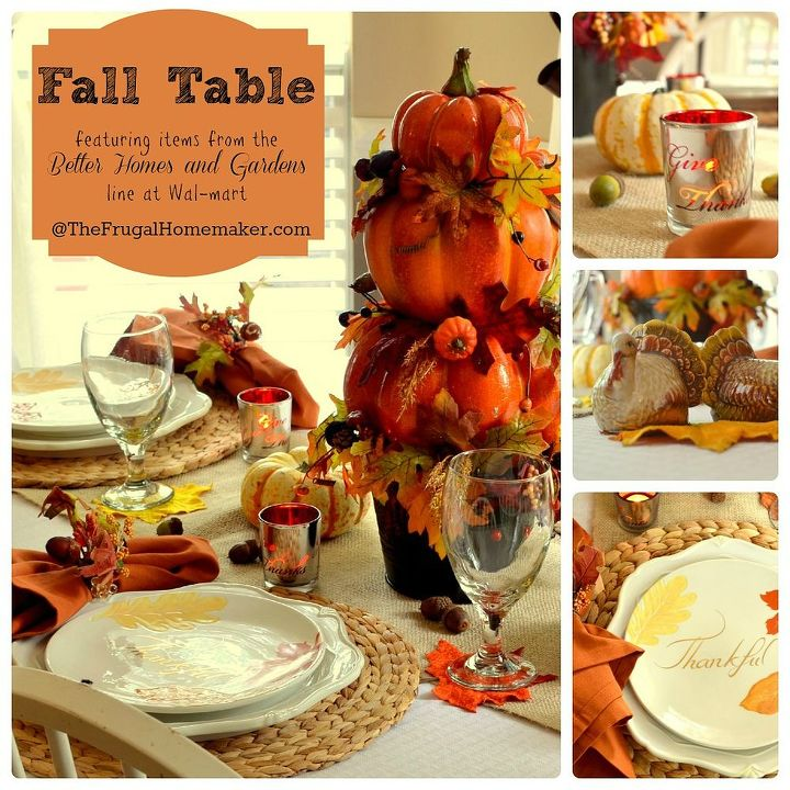 Fall table - with BHG dishes, a DIY Pumpkin topiary and more