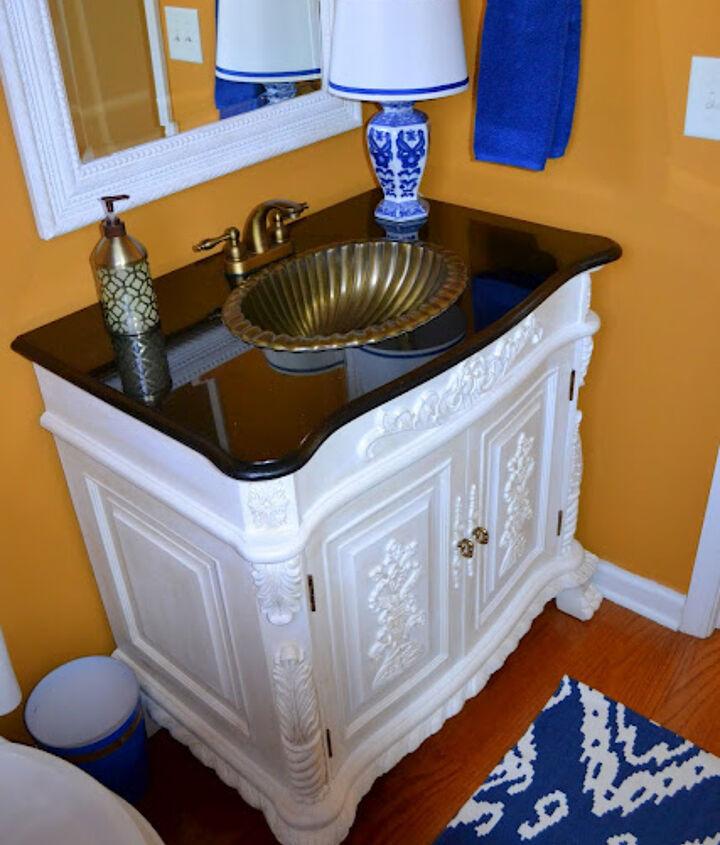 Repainted vanity using ASCP in Pure White.