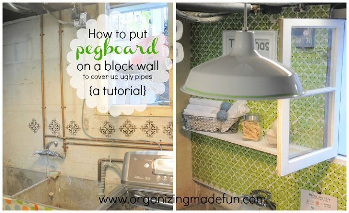 how to put pegboard on a block wall to cover up ugly pipes, diy, laundry rooms, wall decor