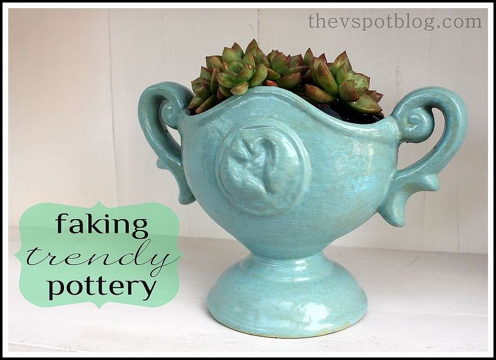 Super easy to do! : http://www.thevspotblog.com/2013/03/faking-look-of-trendy-pottery-pieces.html