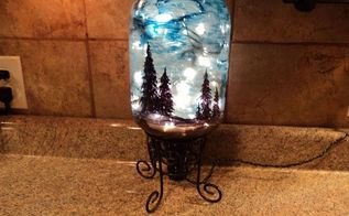 starry night light, christmas decorations, crafts, lighting, seasonal holiday decor, Less room light makes the blue paint more transparent