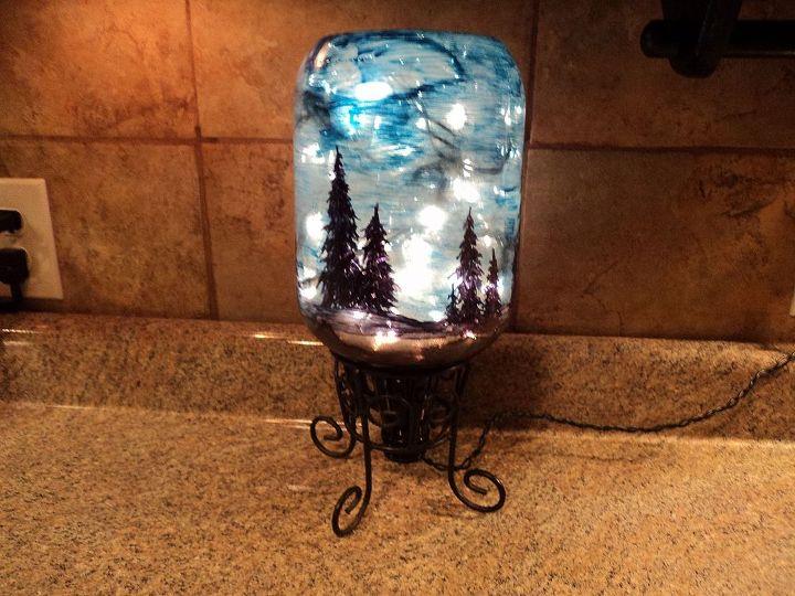starry night light, christmas decorations, crafts, lighting, seasonal holiday decor, Less room light makes the blue paint more transparent