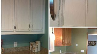 q painting redoing kitchen cabinets, kitchen cabinets, kitchen design, painting, Kitchen cabinets before and after The bottom right picture has the original green wall paint The full picture on the left is the new aqua paint that is also under the layer of white on the cabinets