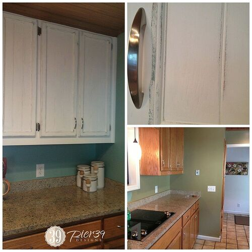 Kitchen cabinets before and after!  The bottom right picture has the original green wall paint.  The full picture on the left is the new aqua paint that is also under the layer of white on the cabinets!