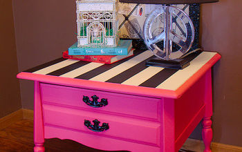 Pink Nightstand With Black and White Stripes