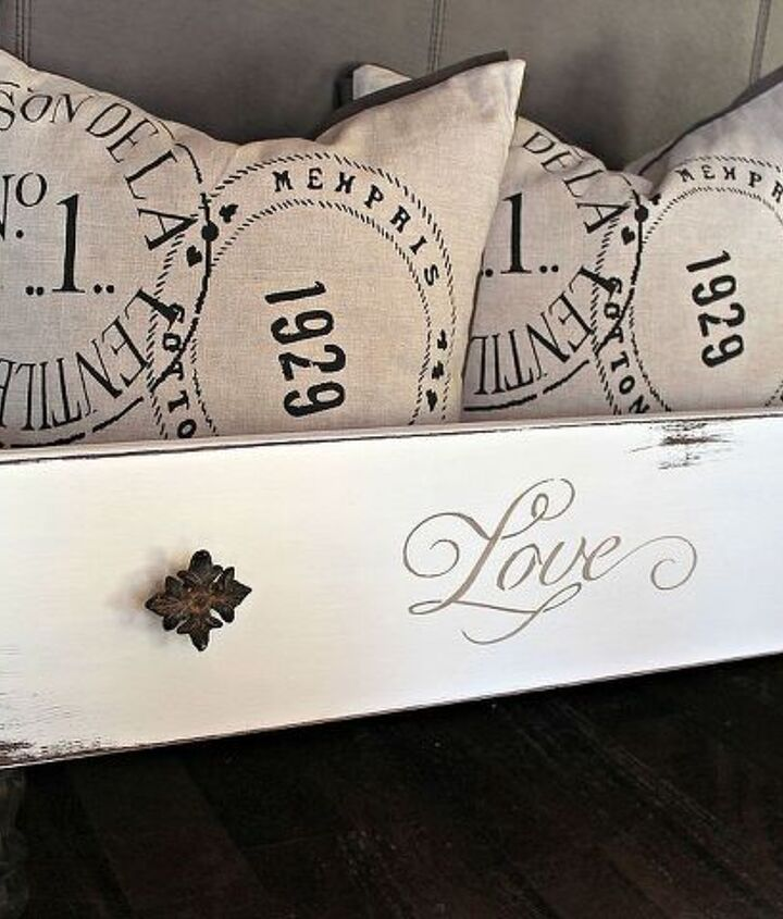 Old drawers made into a place to store pillows, magazines, or even your dog!