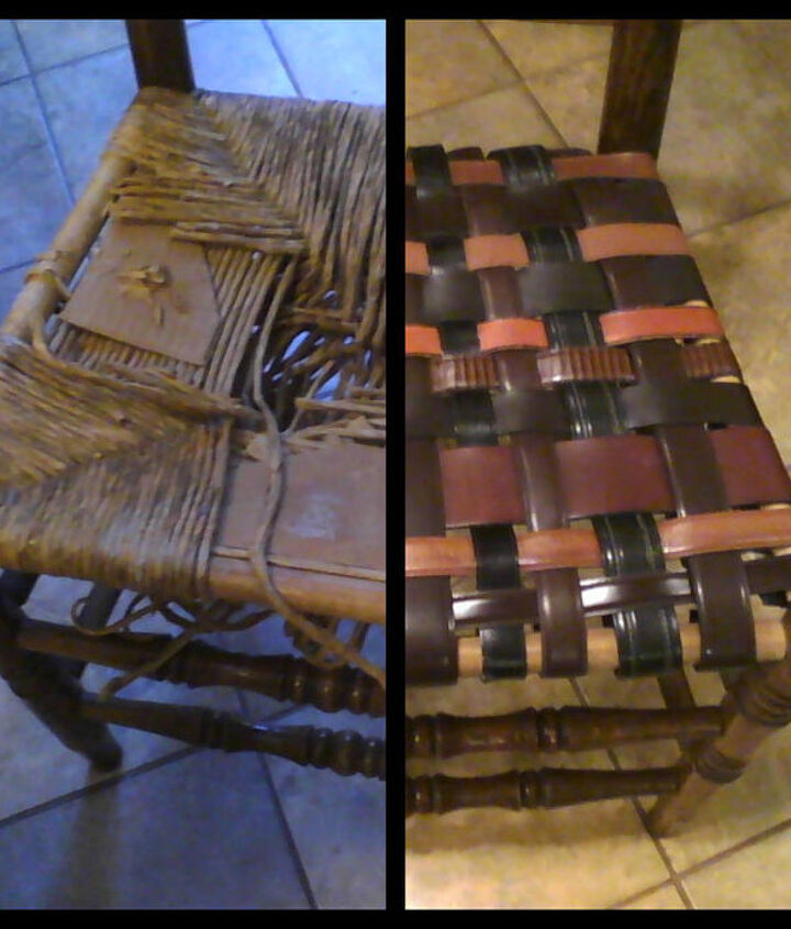 Old Rush Seat Chair brought to new life with belts.
