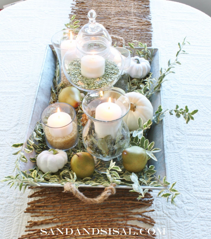 Pear & White Pumpkin Fall Centerpiece by Sand & Sisal http://www.sandandsisal.com/2012/10/green-and-white-autumn-centerpiece.html