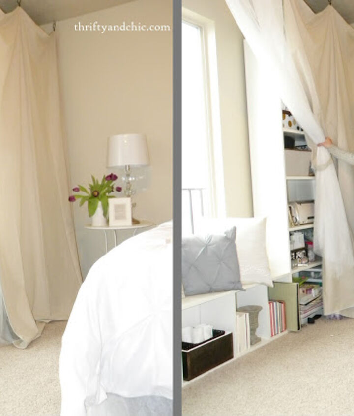 Hide clutter and supplies behind curtains.