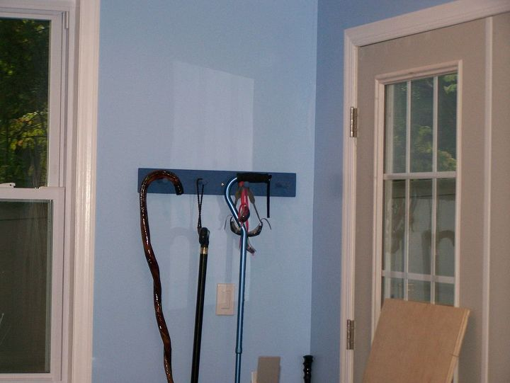 hooks for canes and crutches.
