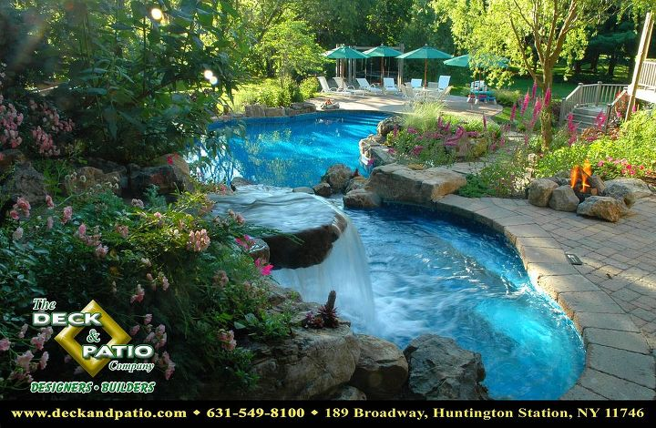 who wants to spend labor day by the pool, decks, outdoor living, patio, pool designs, spas, Pool and Spa with waterfall and natural setting This pool won Best in Competition at the Awards of Excellence from the Northeast spa and pool association This view shows the heated waterfall spilling into the spa with the pool below