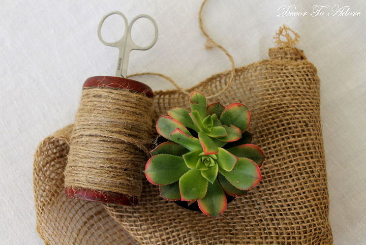 burlap wrapped succulent create table runner, crafts, flowers, gardening, home decor, succulents
