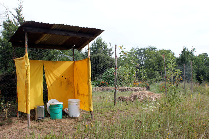 A simple bucket composting toilet at the author's homestead.