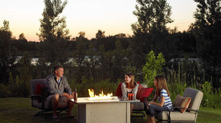 my deck is 13 x9 attached to my condo can you give me ideas how to decorate it, decks, Small deck dining area and entertaining space Fire table and furniture from Outdoor greatrooms