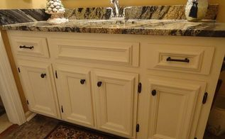 bathroom vanity, bathroom ideas, diy, painted furniture, Chair rail applied to doors Changed hinges and pulls and painted