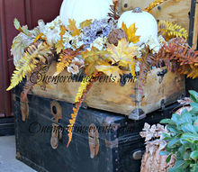 heath and home fall decorations, seasonal holiday d cor, wreaths, Old Carpenter s tool box file with a Fall Arrangement
