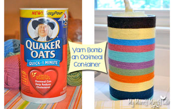 Yarn Bomb An Upcycled Oatmeal Container for Storage