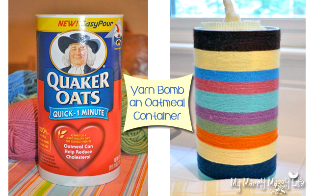 Decorate an old oatmeal canister with yarn to make a custom storage container.