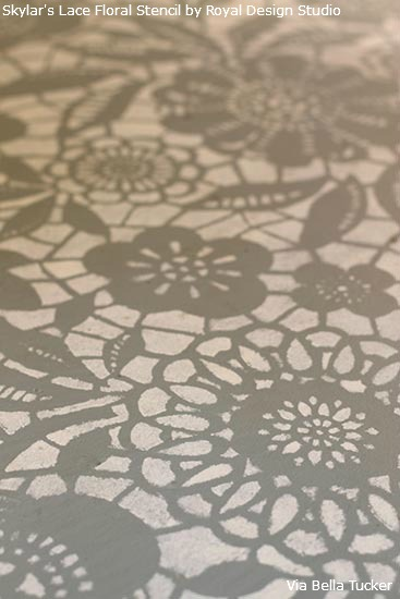 Dana and Brook of Bella Tucker Decorative Finishes used our Skylar's Lace Floral Stencil to update their bedroom floor. http://www.royaldesignstudio.com/products/skylars-lace-floral-stencil