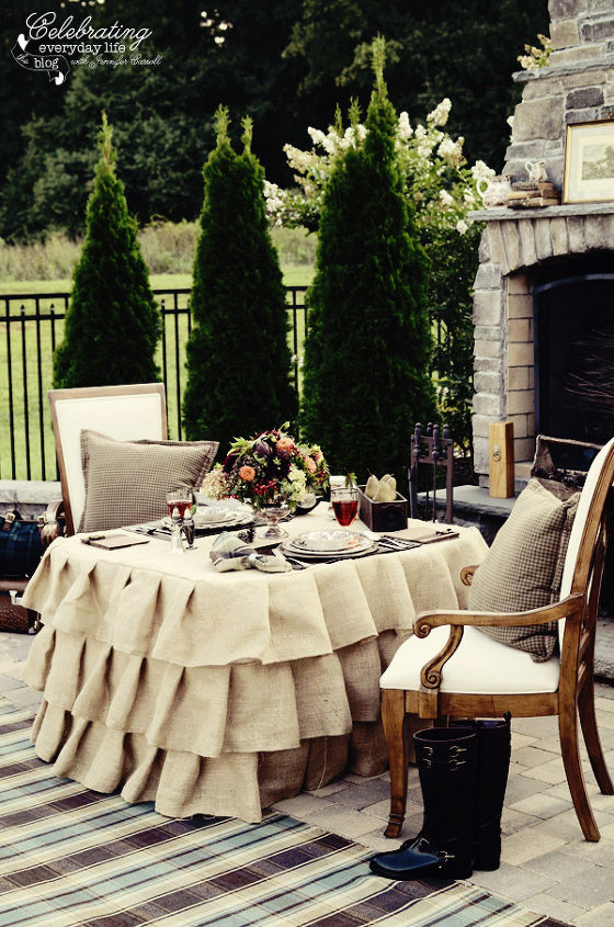 Ralph Lauren inspired outdoor dinner for two, stone fireplace, ruffled burlap tablecloth
