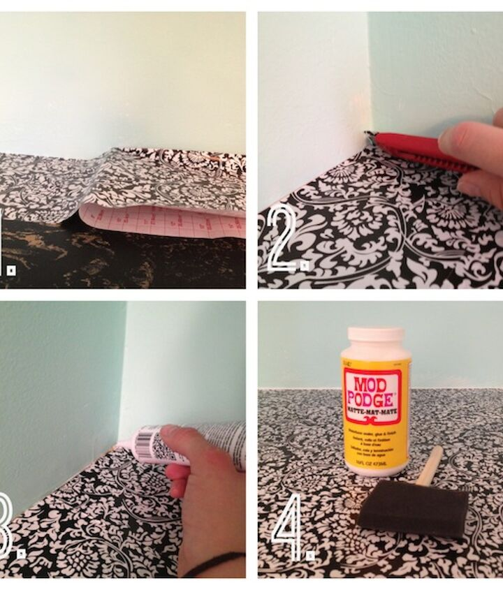diy countertop revival, countertops, diy, kitchen design, 1 Remove the backing in small pieces to avoid a sticky mess 2 Trim the edges close to the wall 3 Add clear caulk along the wall seams 4 Opt Use sealant for protection my counter here is not for food so I used Mod Podge