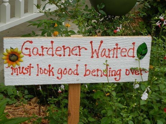 funny garden sign, gardening