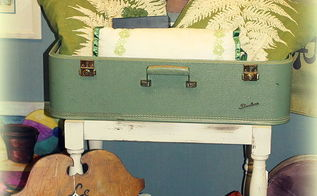 diy vintage suitcase table, painted furniture, repurposing upcycling