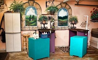 pretty pet parlor vs ugly mugly garage, garage doors, home improvement, pets animals, Fun colorful murals I painted with Behr exterior paint and inexpensive tables I built with 2x2 and paneling from Home Depot make this garage a much more inviting
