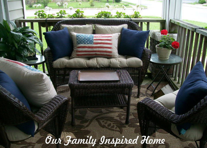 Front porch  outdoor furniture  outdoor living  painted furniture   patriotic decor ideas Front Porch   Red  White  and Blue   Hometalk. Red White And Blue Painted Furniture. Home Design Ideas
