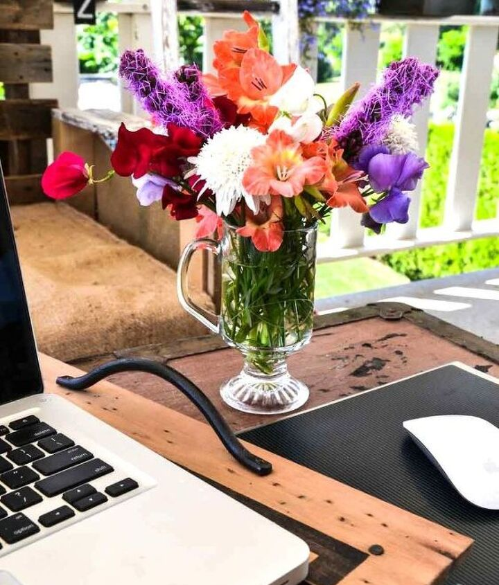 Let's start the tour with my outdoor flower filled office! I love bringing my laptop here each sunny morning with my coffee. http://www.funkyjunkinteriors.net/2013/07/flower-filled-outdoor-patio-office.html