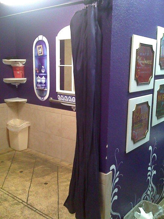 I found the perfect fabric for a pretty purple privacy curtain