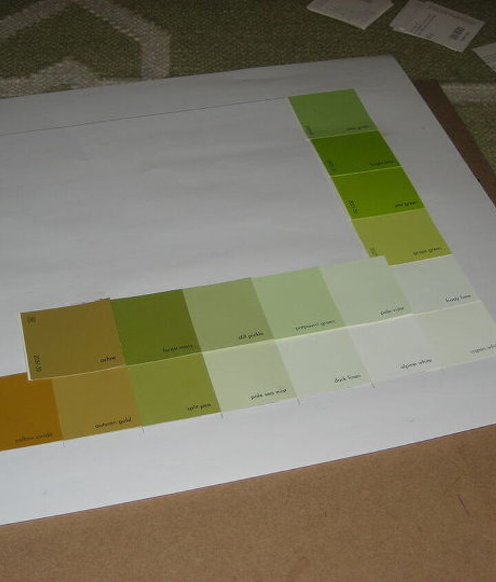 Gluing them down overlapping such a way that the color names still show