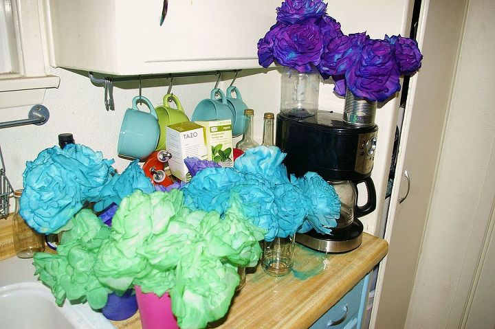 tin can coffee filter flowers peacock, crafts