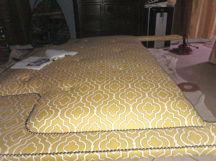 my husband and i finally did our upholstered headboard over the weekend, reupholster, woodworking projects