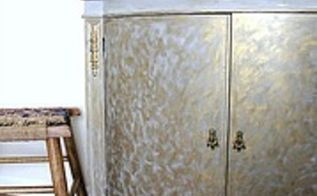 gold and gray cabinet makeover, chalk paint, painted furniture