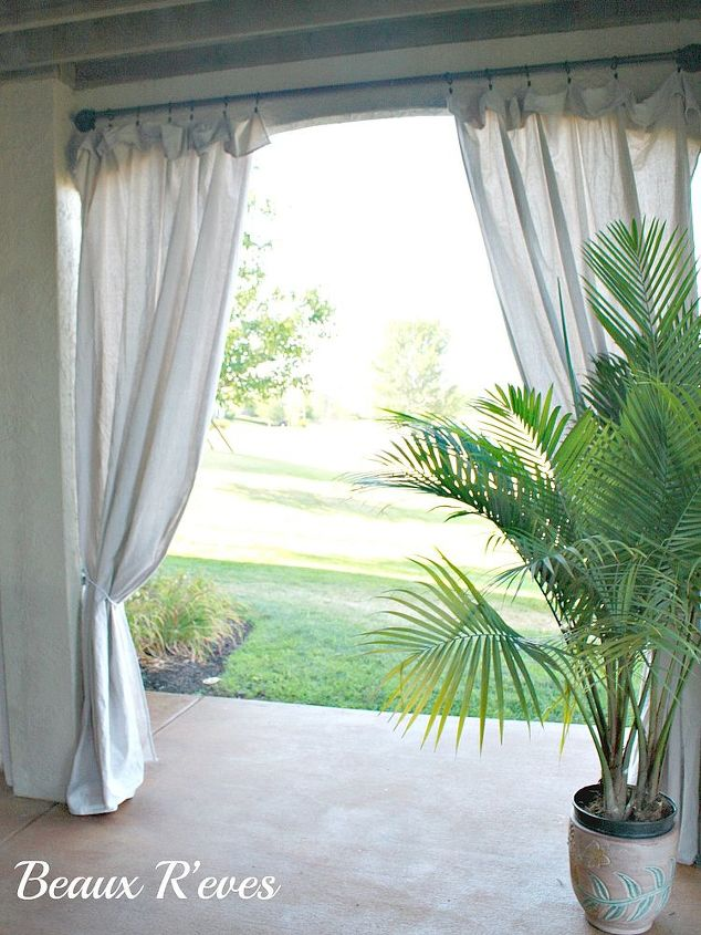 inexpensive outdoor curtains using curtain rods out of. Black Bedroom Furniture Sets. Home Design Ideas