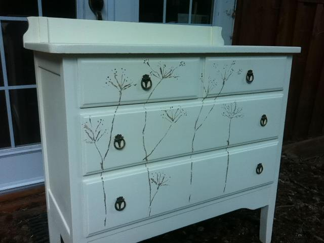 upcycled dresser freehand primitive dandelions, flowers, painted furniture, after