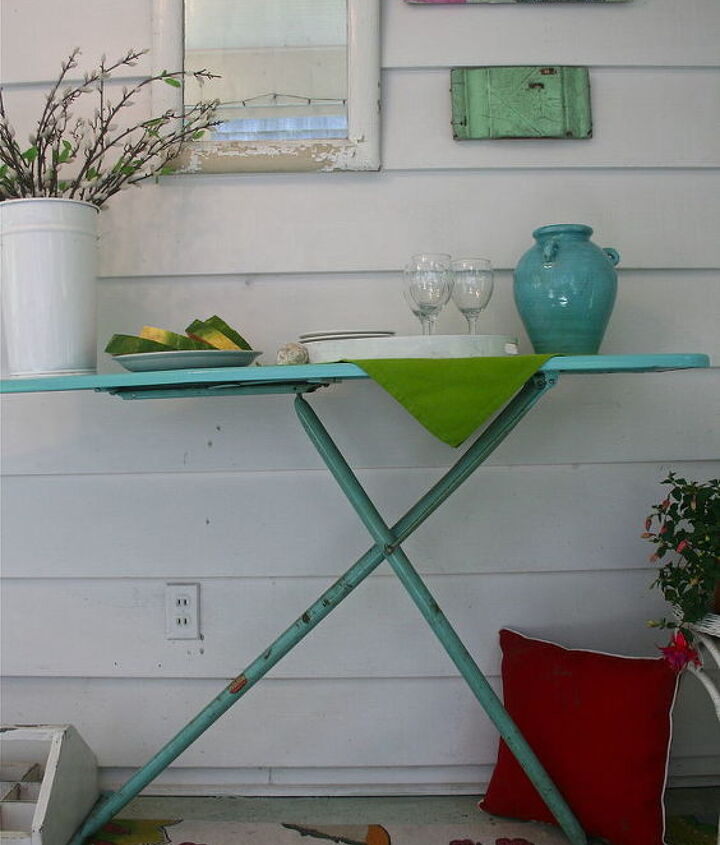 Vintage ironing board as buffet
