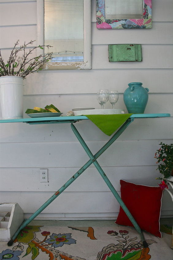 need a buffet for your outdoor party, outdoor living, repurposing upcycling, shabby chic, Vintage ironing board as buffet