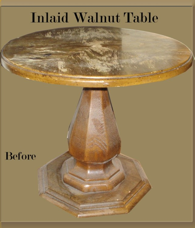 Antique Occasional Table Before & After