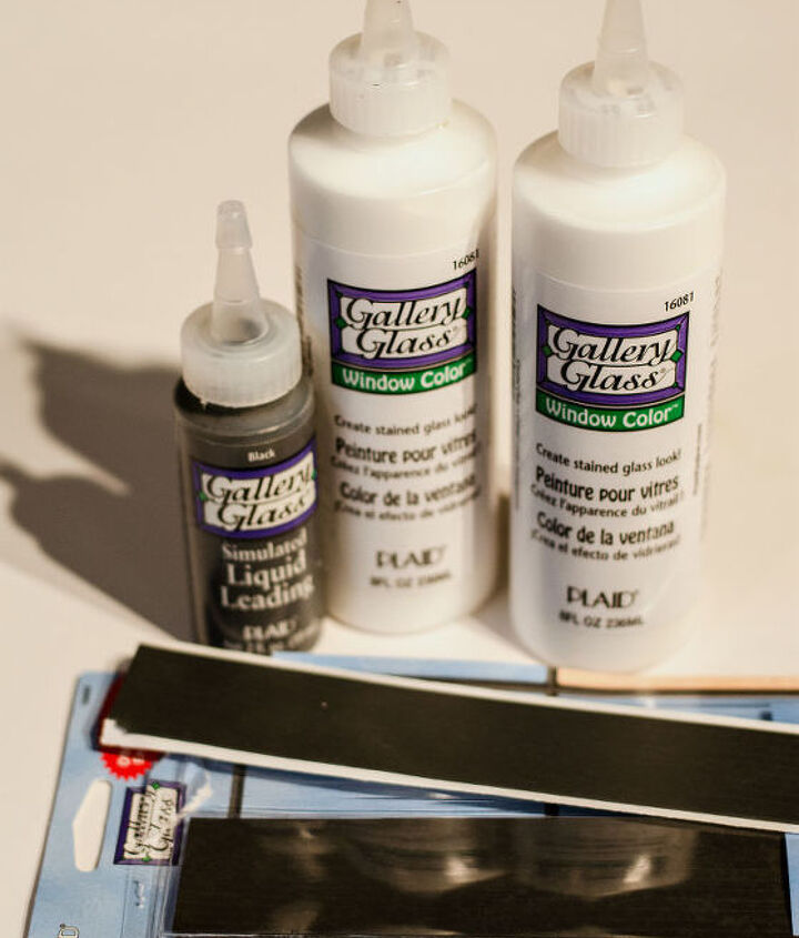 "3. Then I grabbed my faux stain glass Gallery Glass materials, which included self-adhesive leading strips, liquid leading, and crystal clear ""color."""
