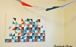 my diy geometric wall art, home decor, painting, Placed in the room
